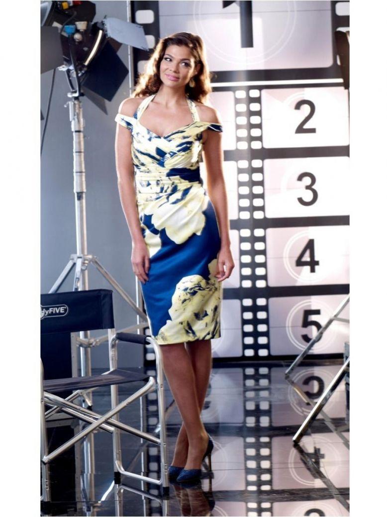 Veromia Occasions Print Halter Neck Midi Dress, Lemon and Navy, Style VO2216