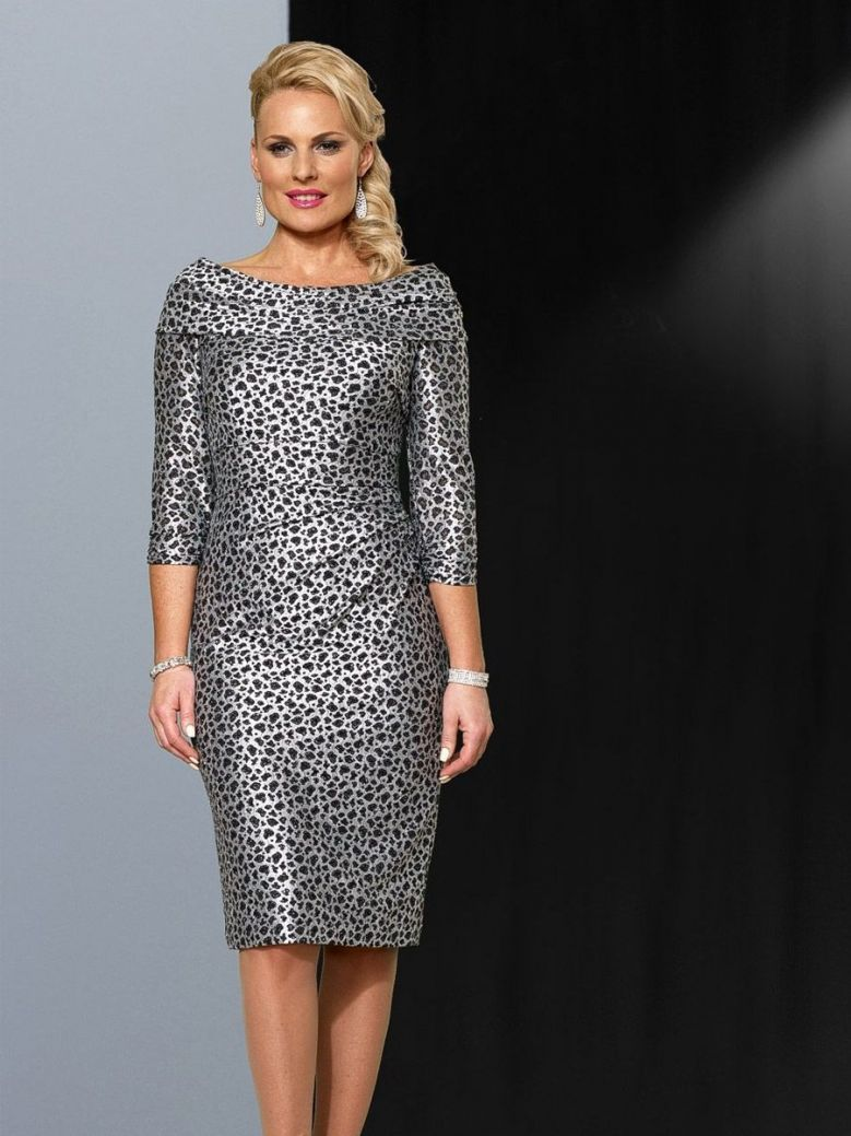 Veromia Occasions Leopard Print Dress, Black and Silver, Style VO4288