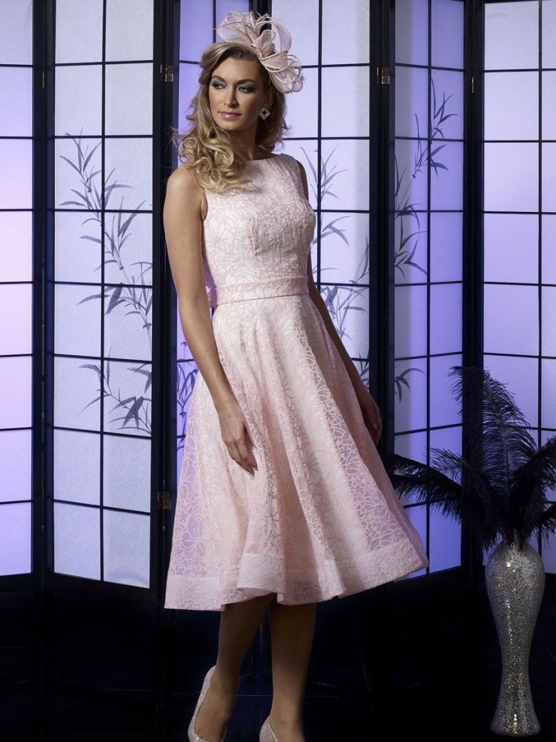 Veromia Occasions Lace Detail Dress, Pink and Ivory, Style VO4996