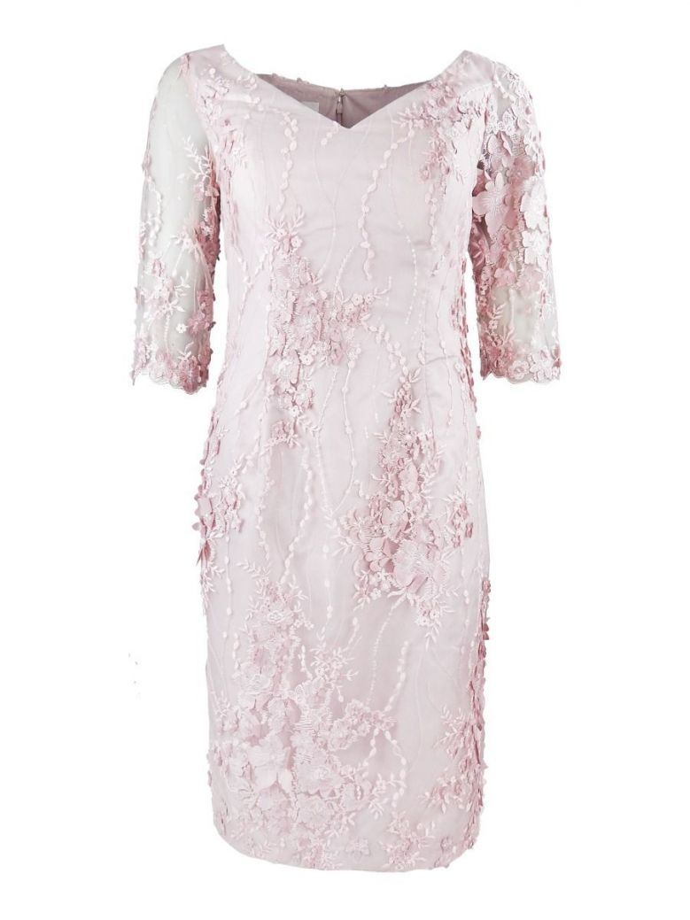 Veromia Occasions 3/4 Sleeve Lace Detail Dress, Dusty Pink, Style VO4999