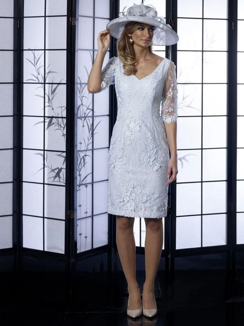 Veromia Occasions 3/4 Sleeve Lace Detail Dress, Pale Blue, Style VO4999
