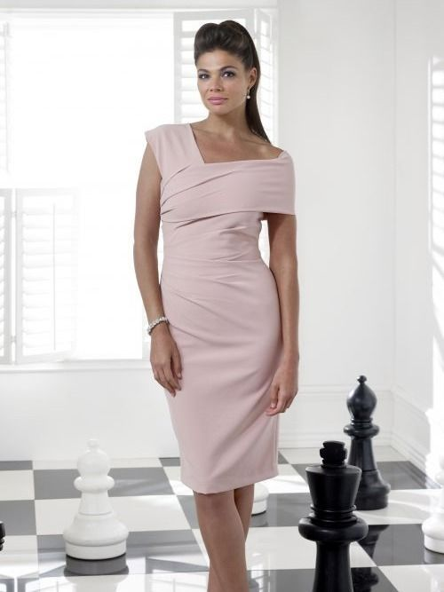 Veromia Occasions One Shoulder Midi Dress, Dusty Rose, Style VO56SG9
