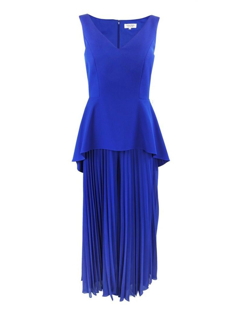 Veromia Occasions V-Neck Pleated Leg Jumpsuit, Cobalt Blue, Style VO85G