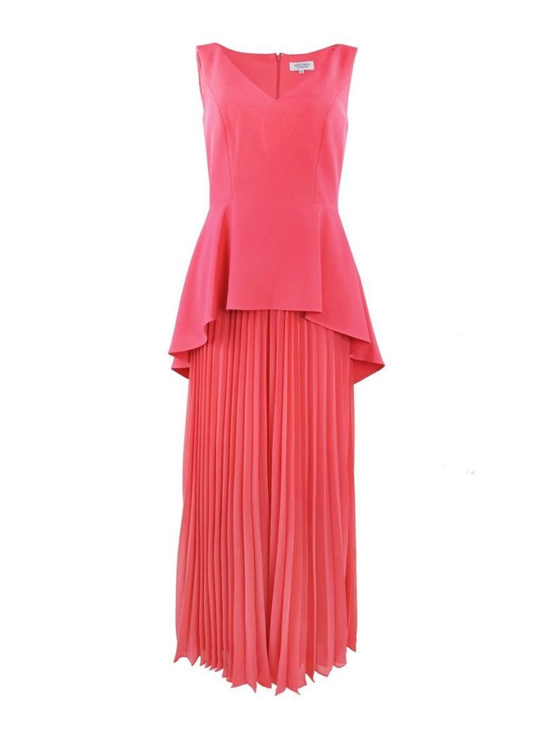 Veromia Occasions V-Neck Pleated Leg Jumpsuit, Lipstick Pink, Style VO85G