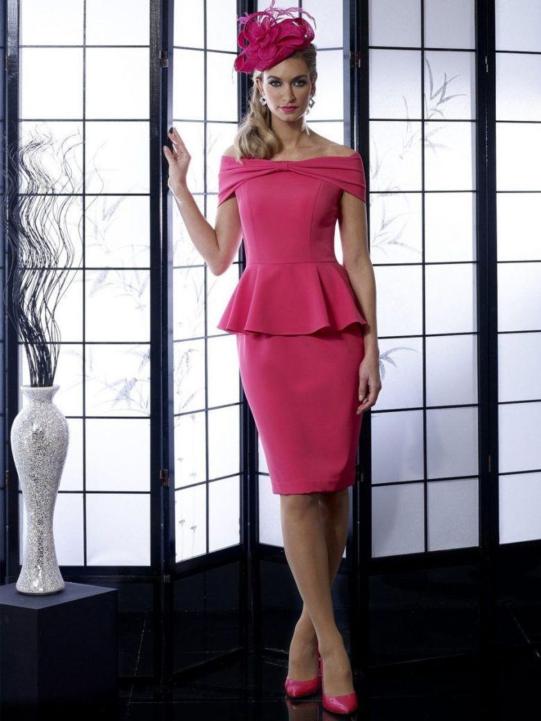 Veromia Occasions Bow Neckline Dress, Lipstick Pink, Style VO87G