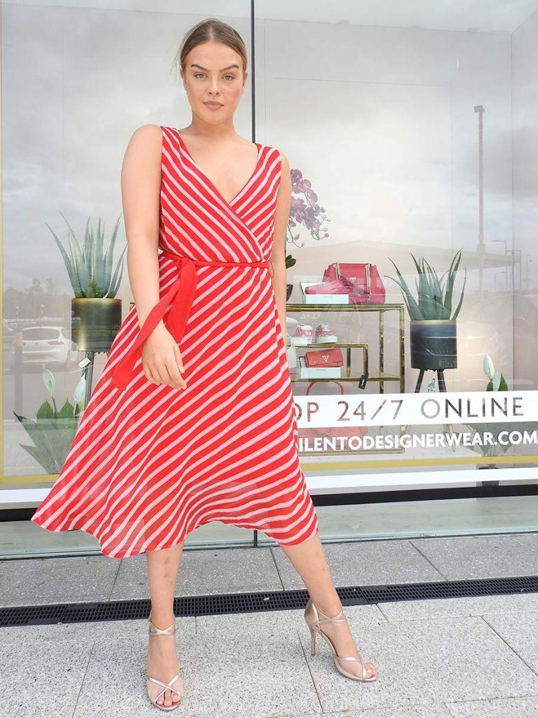 Via Appia Wrap Sleeveless Dress Red