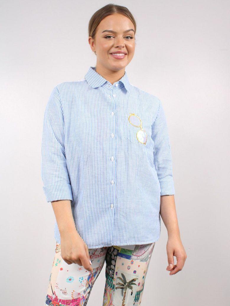Vilagallo Isabella Embroidered Stripe Shirt Blue
