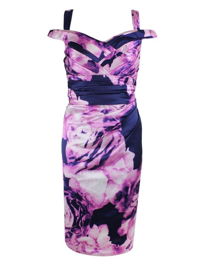 Veromia Occasions Print Halter Neck Midi Dress, Fuchsia and Navy, Style VO2216