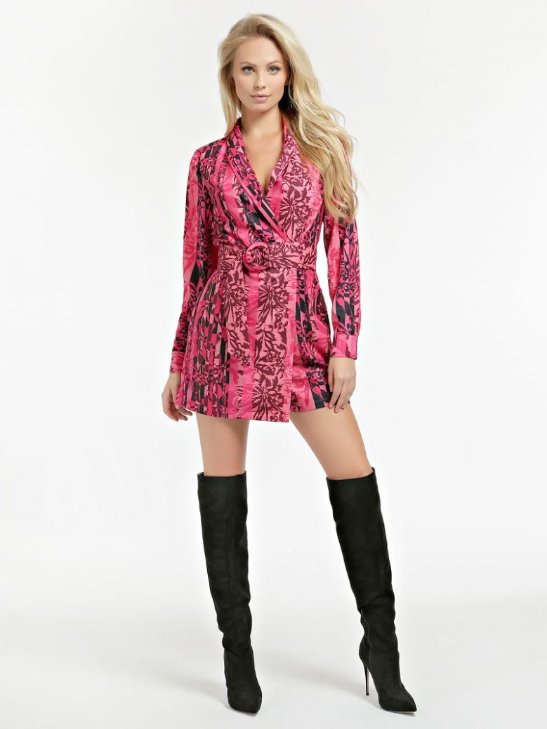Guess Pink Floral Belted Playsuit