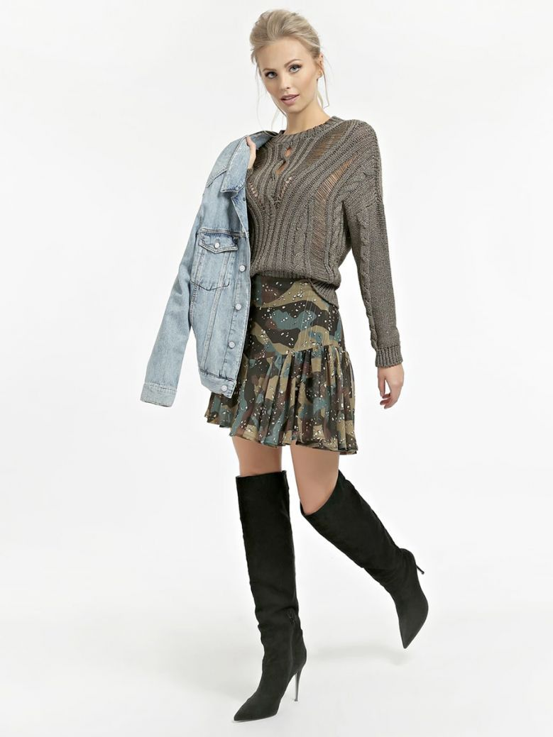Guess Ladies Camouflage All Over Print Skirt