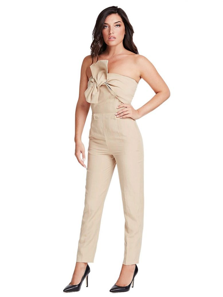 Guess Beige Sleeveless Bow Detail Jumpsuit