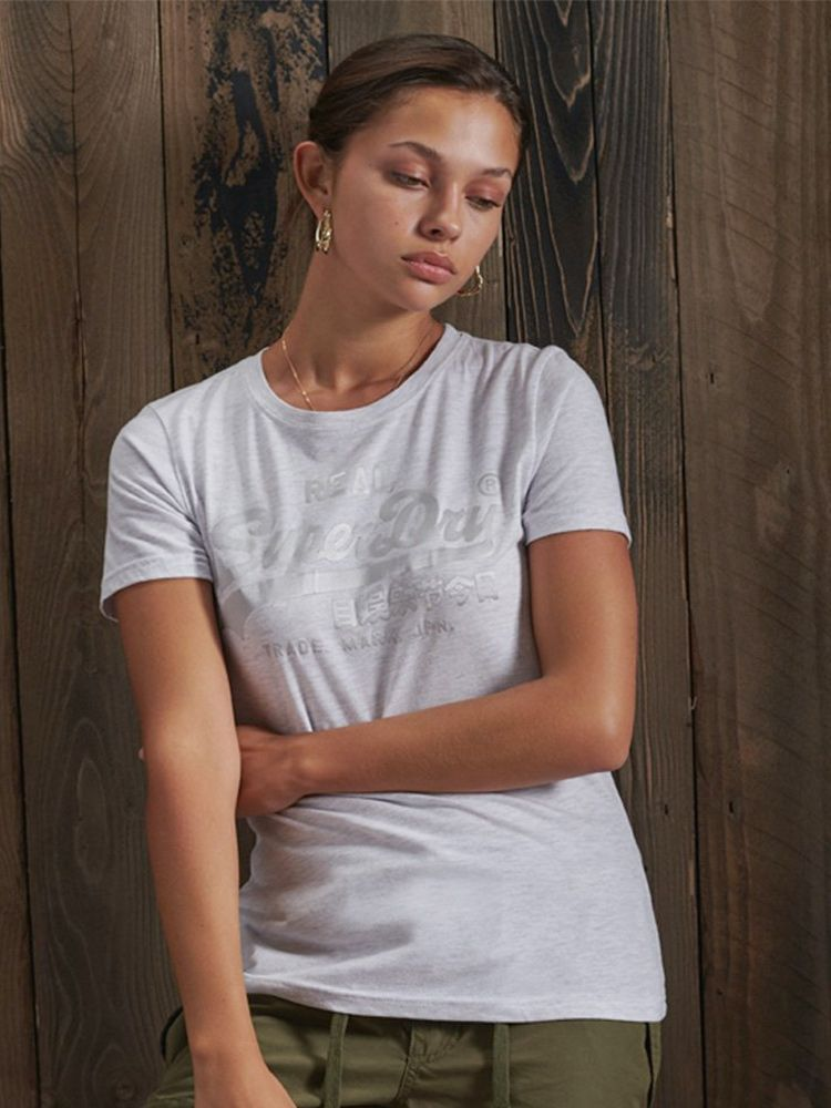 Superdry Grey Vintage Logo Tonal Satin T-Shirt
