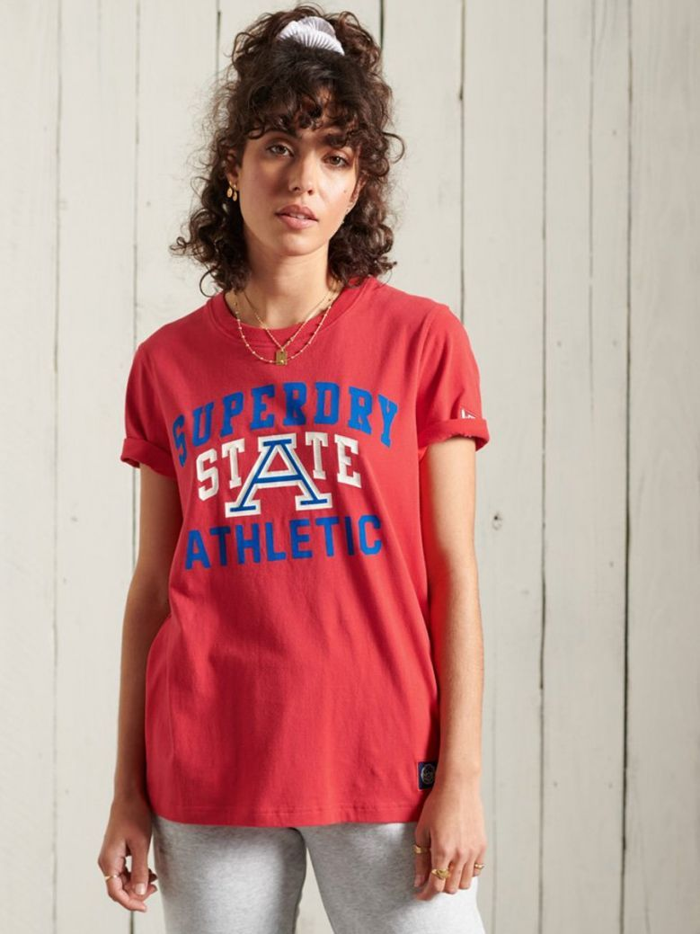 Superdry Drop Kick Red Collegiate Athletic Union T-Shirt