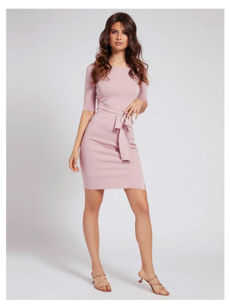 Guess Ladies Pink Ribbed Belted Dress