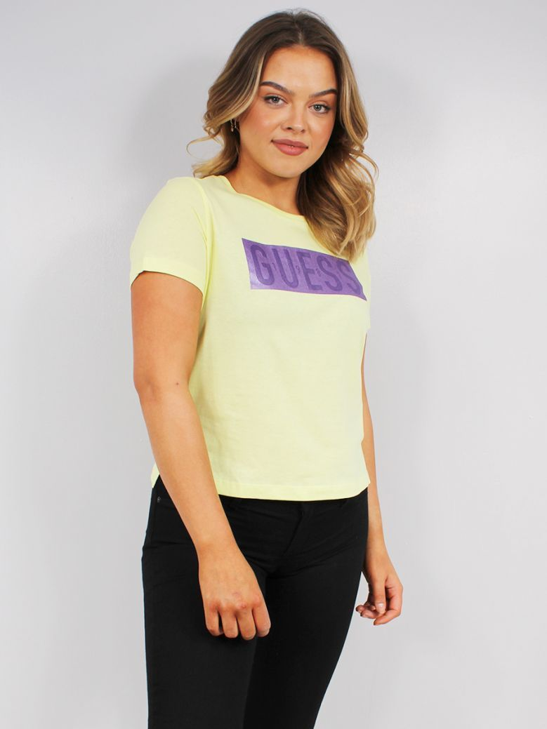 Guess Ladies Yellow Front Logo T-Shirt
