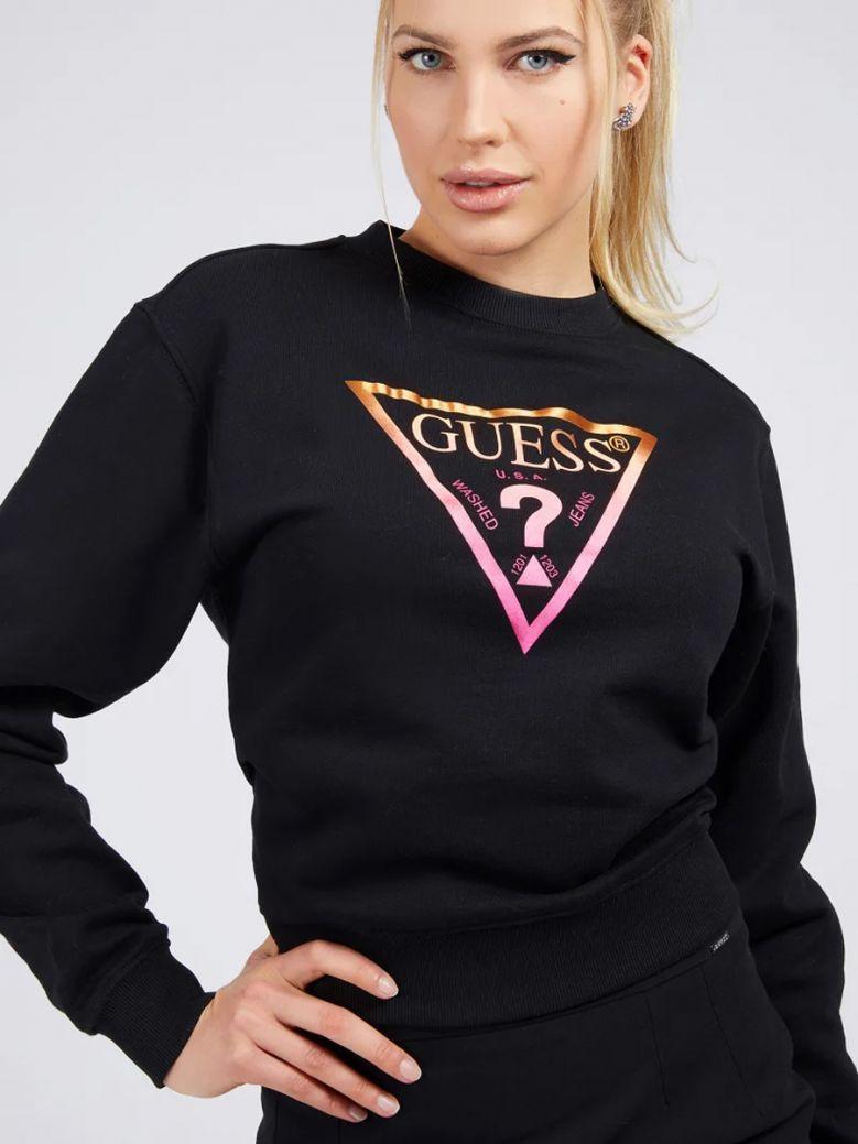Guess Ladies Black Icon Triangle Logo Sweatshirt