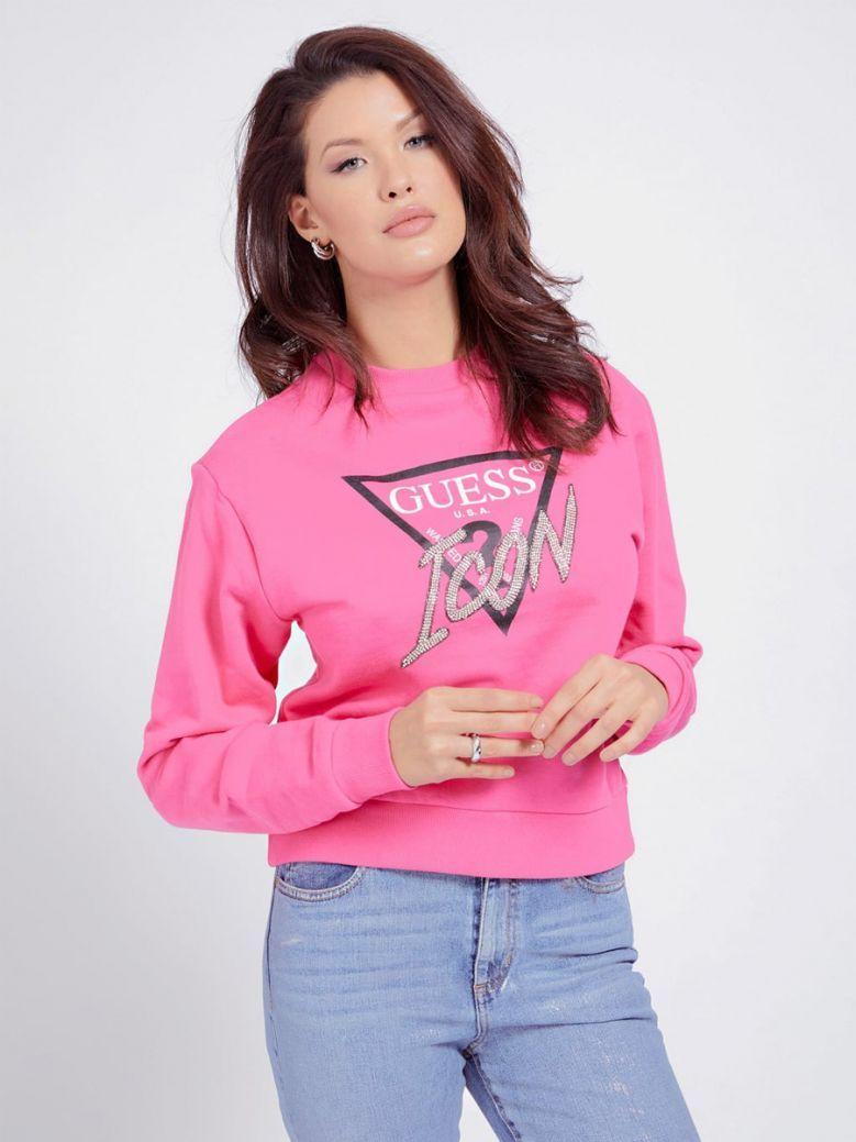 Guess Ladies Pink Rhinestone Triangle Logo Sweater