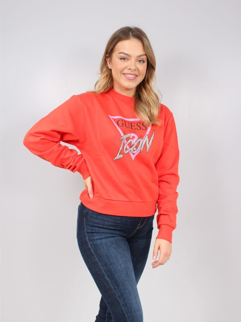 Guess Ladies Red Rhinestone Triangle Logo Sweater