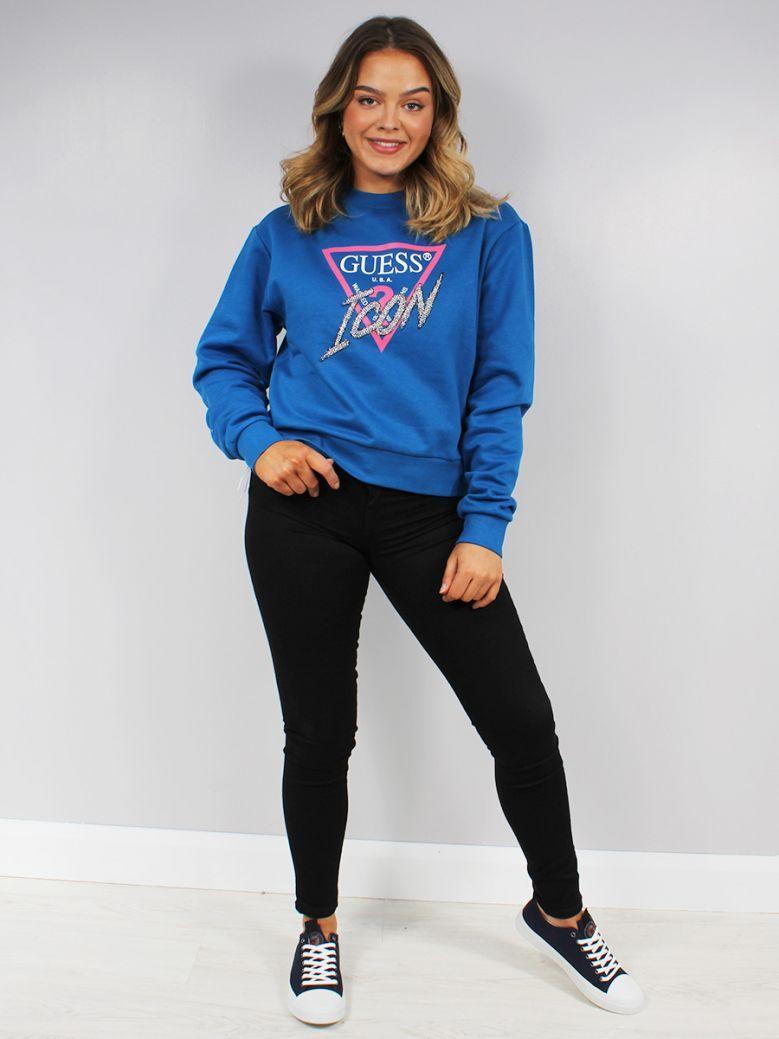 Guess Ladies Blue Rhinestone Triangle Logo Sweater