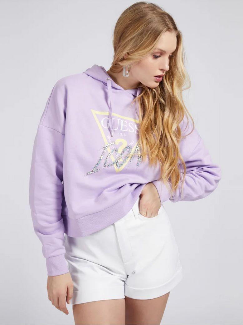 Guess Ladies Lilac Icon Logo Hoodie