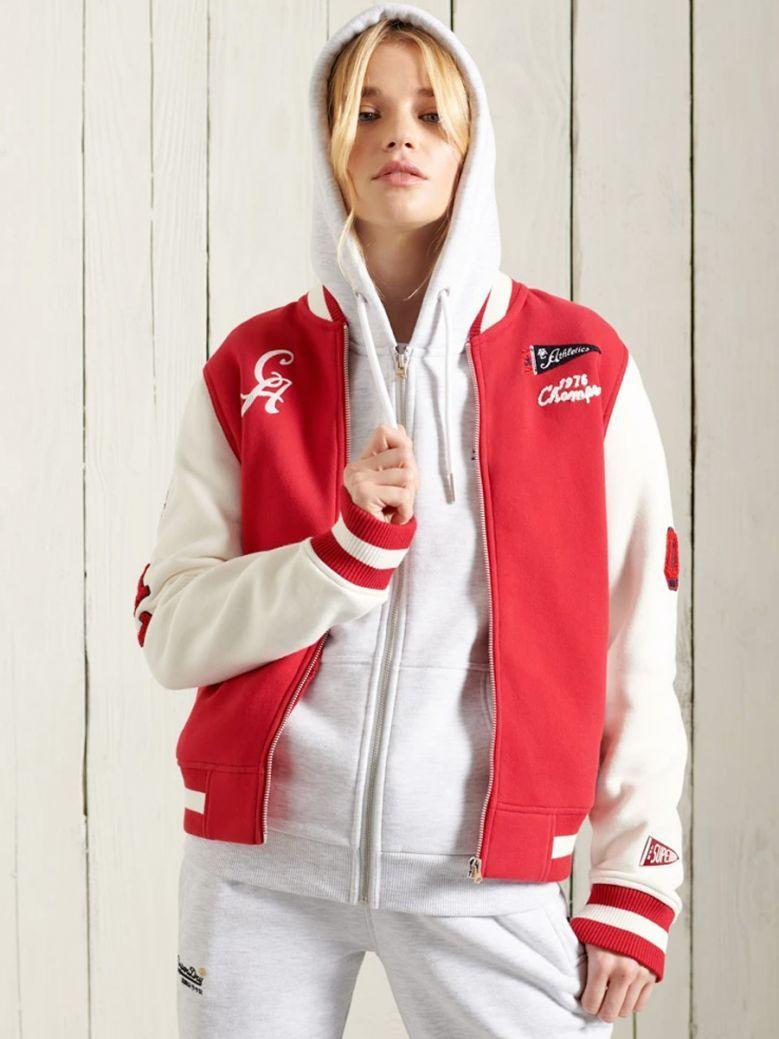 Superdry Chilli Pepper Red Collegiate Scripted Baseball Bomber Jacket