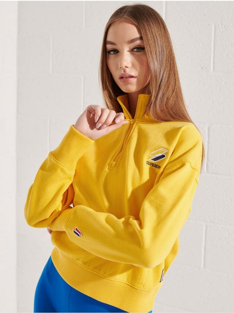 Superdry Nautical Yellow Sportstyle Essential 1/4 Zip Top