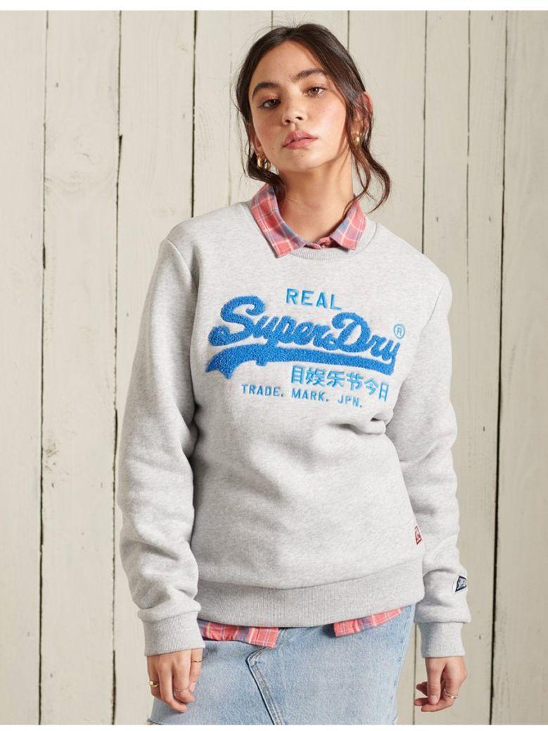 Superdry Light Grey Marl Vintage Logo Chenille Crew Sweatshirt