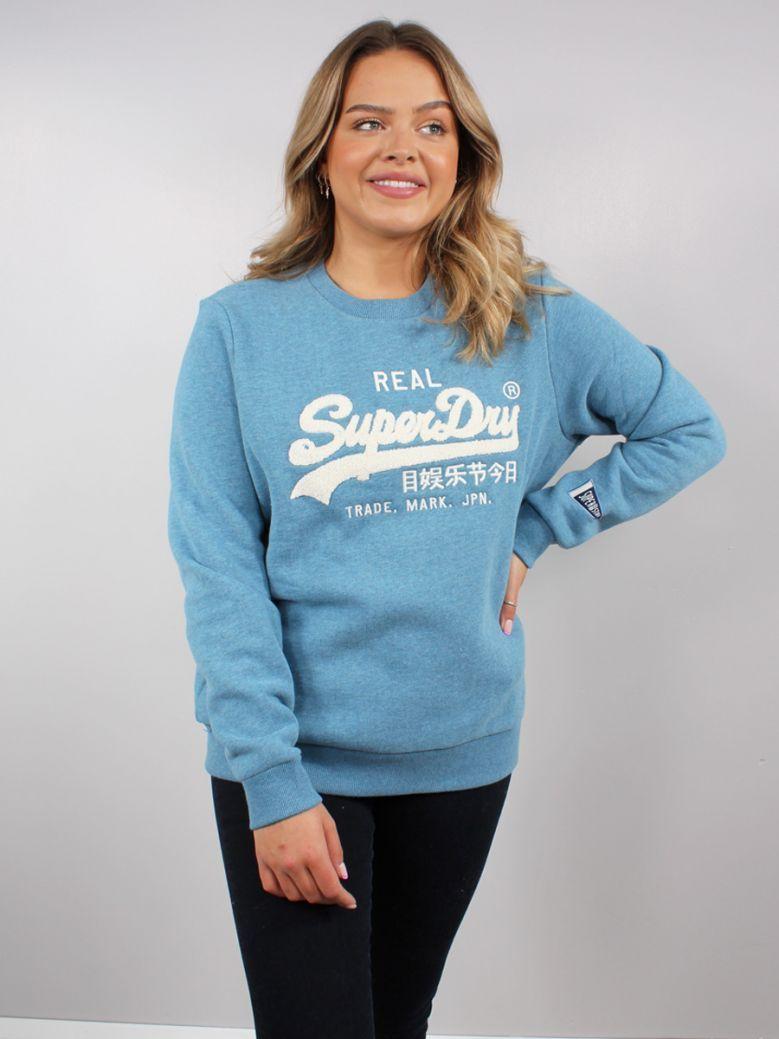 Superdry Blue Bottle Marl Chenille Crew Sweatshirt