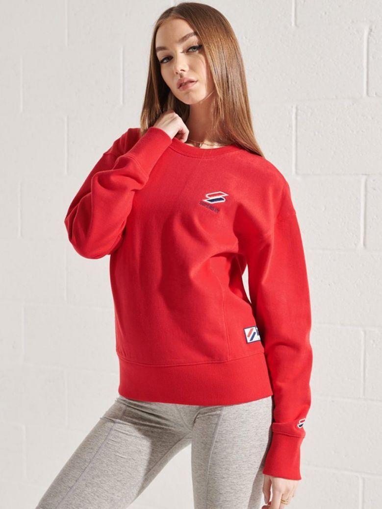 Superdry Risk Red Sportstyle Essential Crew Sweatshirt