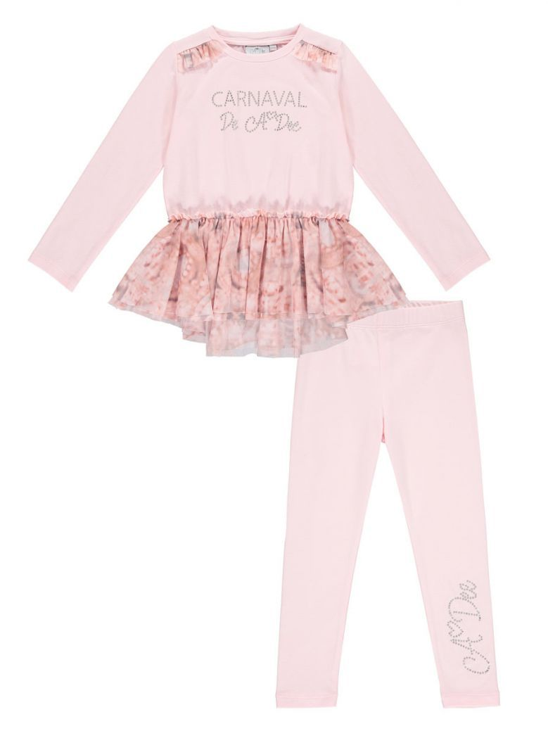 A Dee Pink Carnival Top and Leggings Set