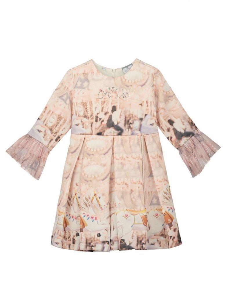 A Dee Champagne Carousel Print Dress