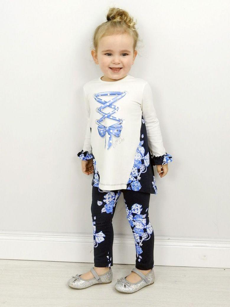 A Dee Blue & White Helena Printed Top & Leggings Set