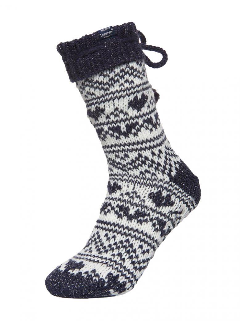 Superdry Rinsed Navy Heart Fairisle Slipper Socks