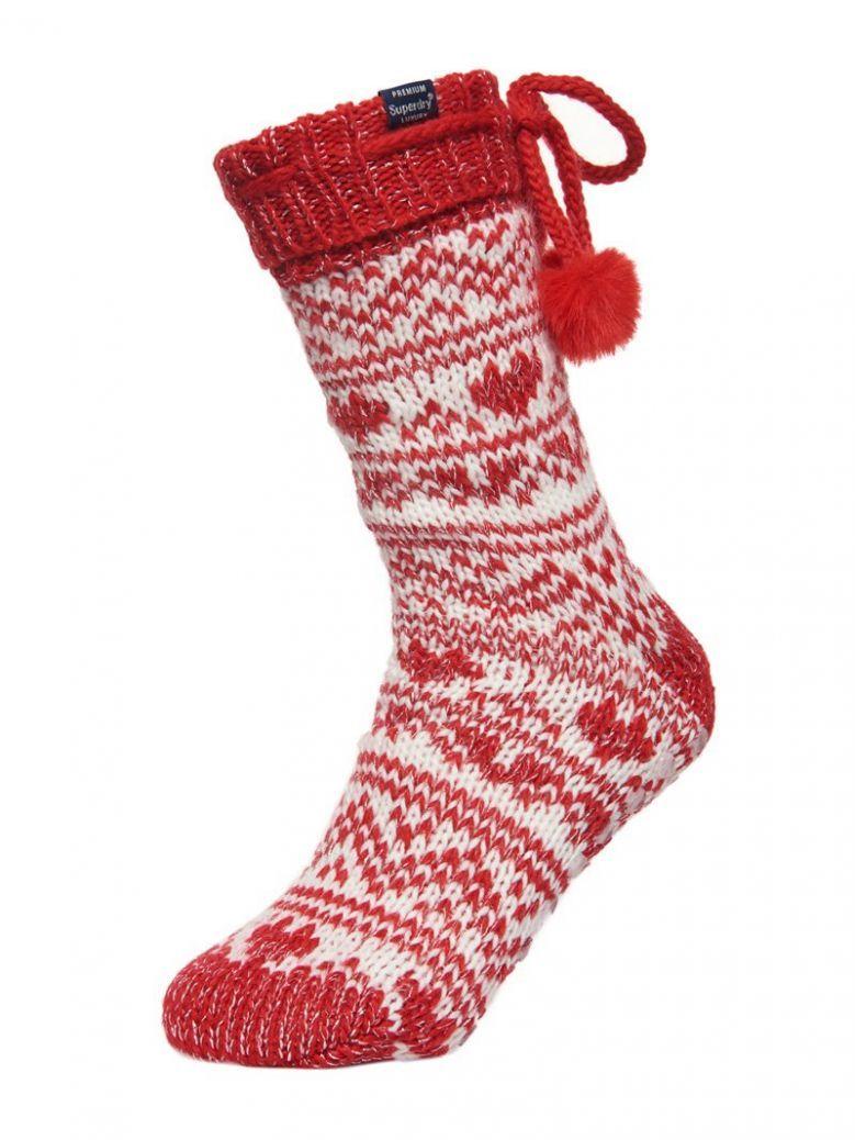 Superdry Deep Red Heart Fairisle Slipper Socks