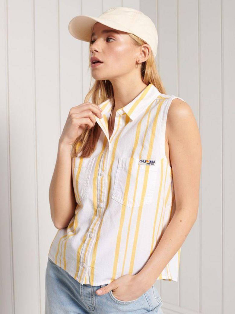 Superdry Yellow Stripe Sleeveless Shirt