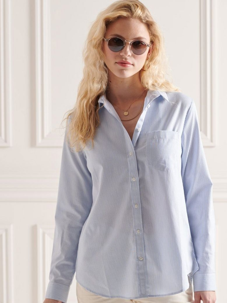 Superdry Bel Air Blue Stripe Classic Preppy Long Sleeved Shirt
