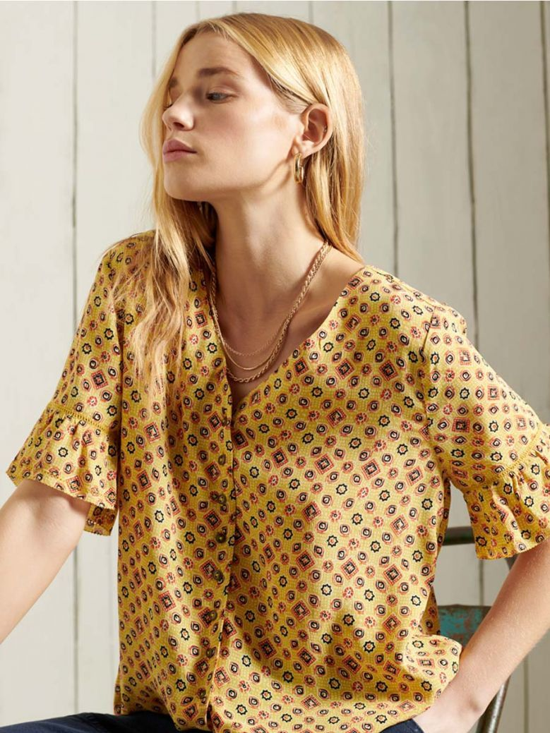 Superdry Yellow Printed Blouse