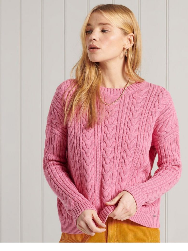 Superdry Dusty Rose Marl Dropped Shoulder Cable Crew Neck Jumper