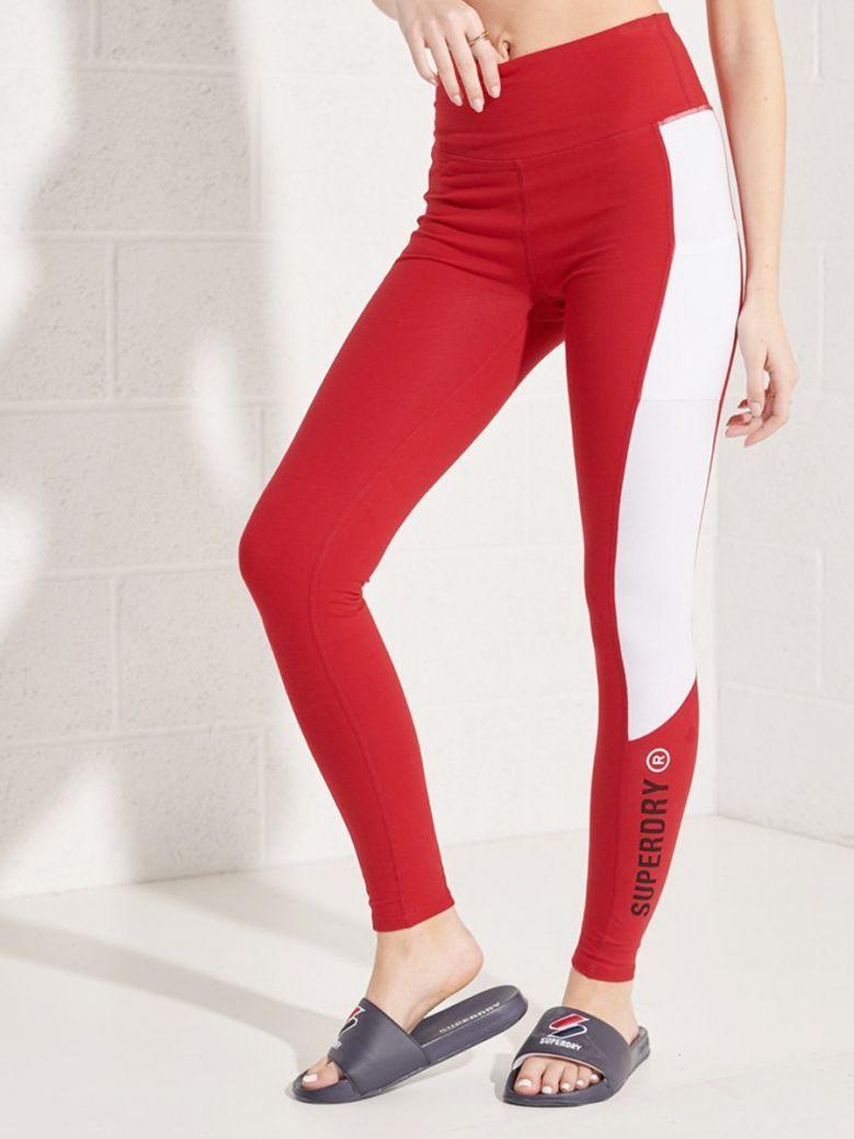 Superdry Varsity Red Active Lifestyle Full Length Leggings
