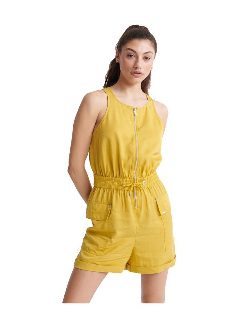 Superdry Oil Yellow Nevada Halter Playsuit