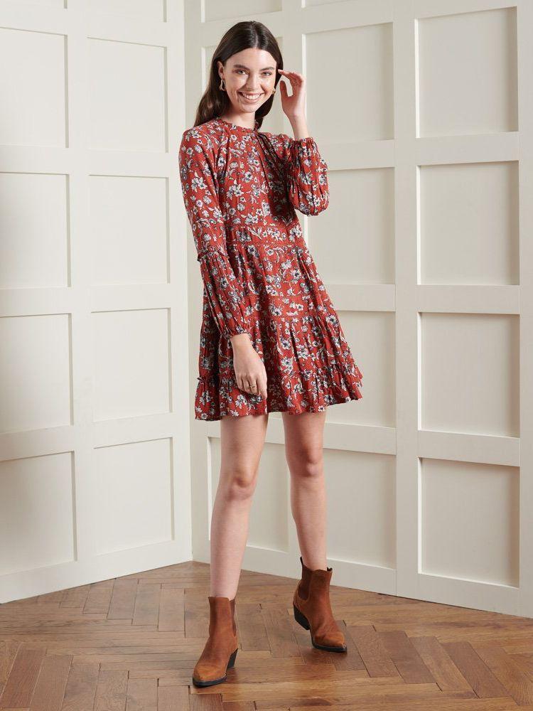 Superdry Floral Richelle Long Sleeve Dress