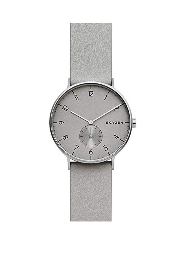 Skagen Grey Aaren Leather Strap Watch