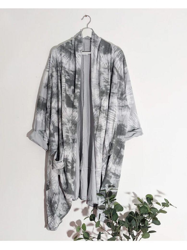 Cilento Woman Grey Tie Dye Waterfall Style Jacket