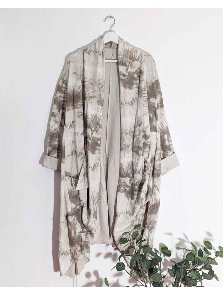 Cilento Woman Taupe Tie Dye Waterfall Style Jacket