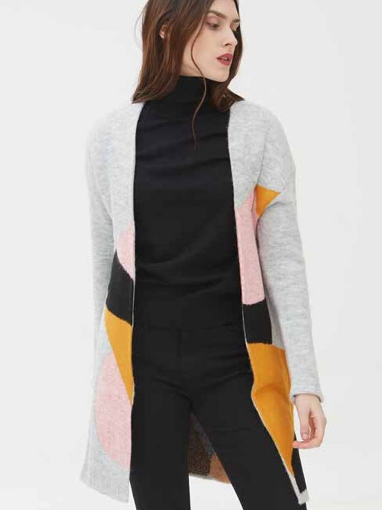 WNT Collection Abstract Knit Cardigan Grey