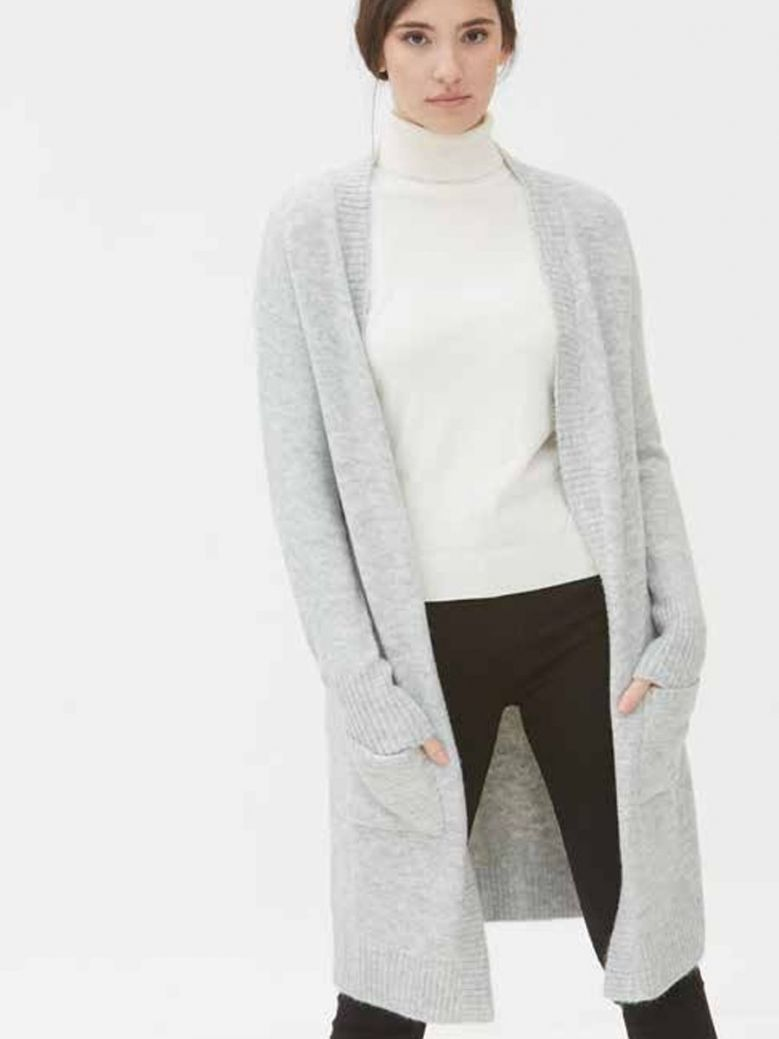 WNT Collection Longline Cardigan with Pockets Grey