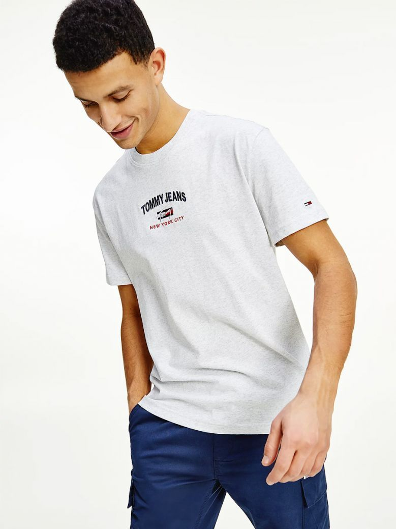 Tommy Jeans Silver Grey Heather Organic Cotton Flag T-Shirt