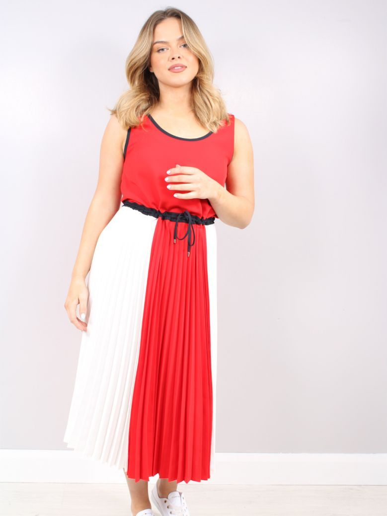 Tommy Hilfiger Multi Colour Block Sleeveless Pleated Midi Dress