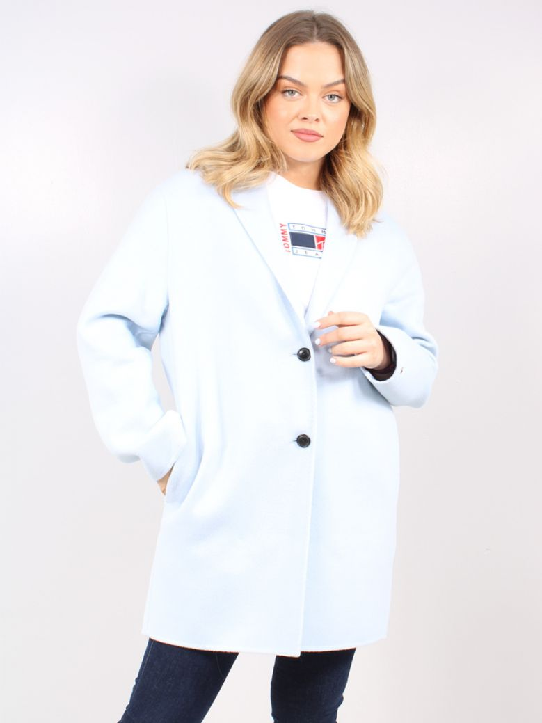 Tommy Hilfiger Ladies Breezy Blue Wool Blend Single Breasted Coat