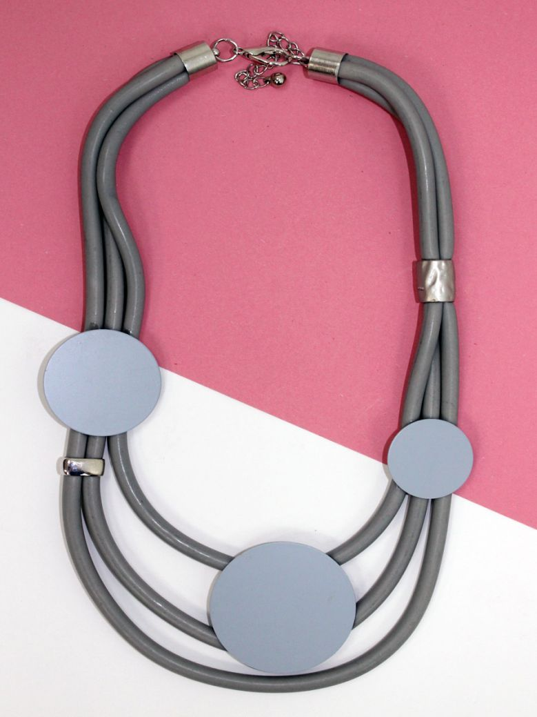 Cilento Woman Grey Circle Detail Necklace